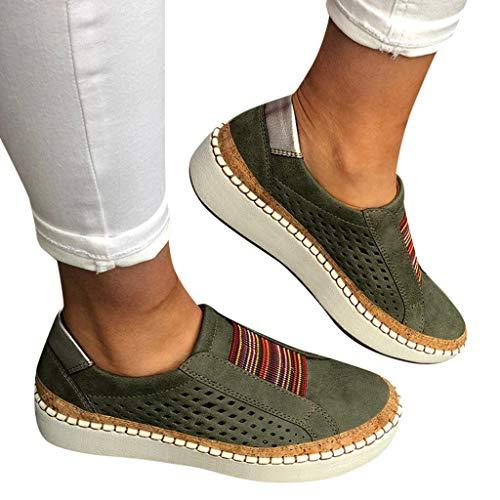 Qingsiy Zapatillas Deportivas de Mujer Gimnasio Fitness Correr Ligero Comodos Respirable Zapatillas sin Cordones con Punta Redonda y Punta Redonda para Mujer