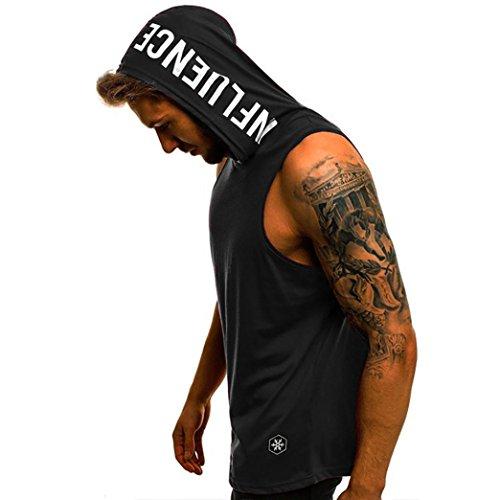 QinMM Camiseta con Capucha de Tirantes Deportes para Hombre, Tops Camisa sin Mangas de Verano Fitness (M, Negro)
