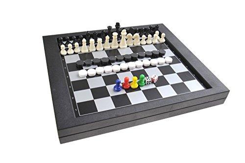 Quantum Abacus Juego de Mesa magnético 3-en-1 (tamaño estándar): Ajedrez, Damas, Serpientes y Escaleras - Piezas magnéticas, 23cm x 20,5cm x 2,7cm, Mod. SC6710 (DE)