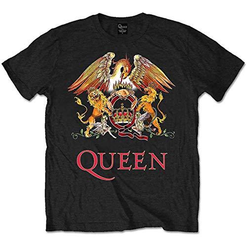 Queen Classic Crest Camiseta, Schwarz/Schwarz, S para Hombre