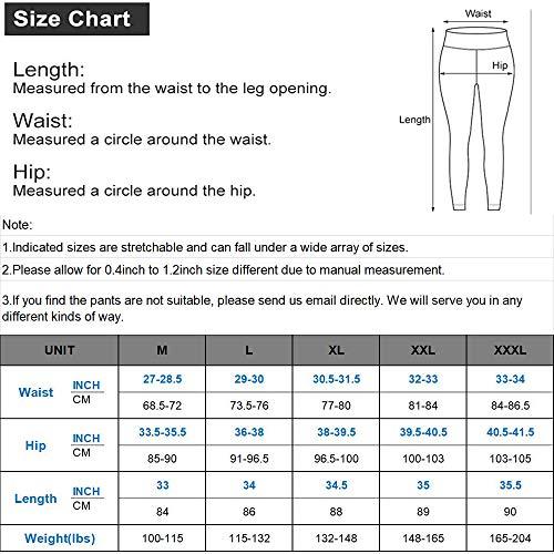 QueenDer Leggings Fitness Mujer Deporte Pantalones Largo Cintura Alta con Bolsillo Polainas Mallas para Yoga Running Cycling y Pilates (Negro, L)
