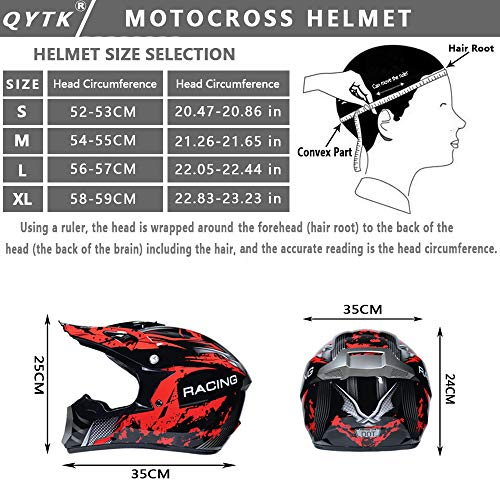 QYTK® Casco Motocross Niño Rojo Negro, MT-51 Full Face Motorcycle Cross Helmet Casco Motocicleta con Gafas Guantes Mascarilla, Al Aire Libre Motorbike ATV MTB Racing Seguridad Set,M(54~55CM)