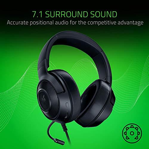 Razer Kraken x 7.1 Auriculares Gaming con Sonido Envolvente con Compatibilidad Multiplataforma, Ergónomico y ligero; 250 g peso, Negro