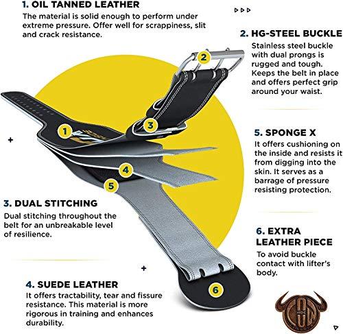 """RDX Gimnasio Cinturón Cuero 6"""" Musculacion Peso Cinturones Pesas Entrenamiento Levantamiento"""