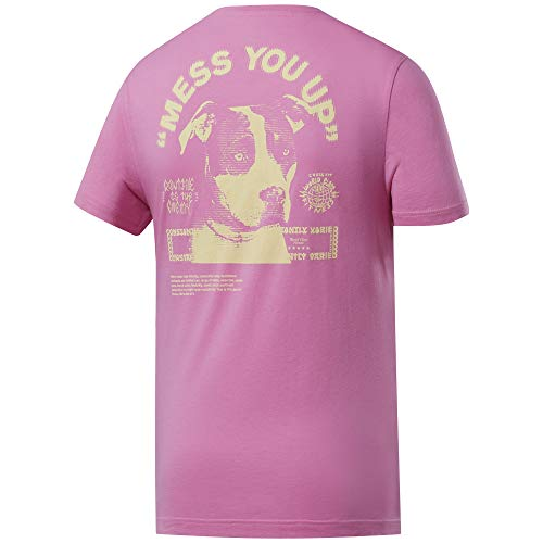 Reebok CF Mess You Up Graphic tee Camiseta de Manga Corta, Hombre, Posh Pink, 2XL