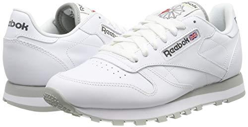 Reebok Classic Leather - Zapatillas de cuero para hombre, color blanco (int-white / lt. grey), talla 45