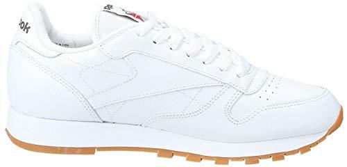 Reebok Classic Leather - Zapatillas de cuero para hombre, color blanco (white / gum 2), talla 45