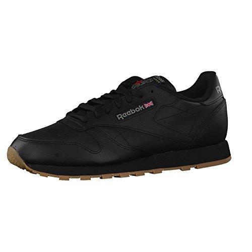 Reebok Classic Leather - Zapatillas de cuero para hombre, color negro (black / gum 2), talla 45.5