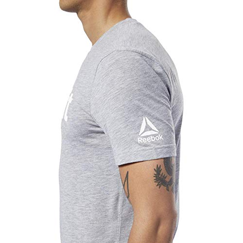 Reebok RC Fef-Speedwick Camiseta, Hombre, Medium Grey Heather/White, XL