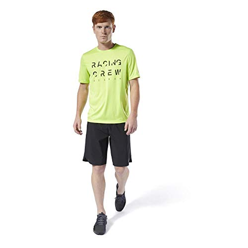 Reebok Re Run Crew tee Camiseta, Hombre, neolim, S