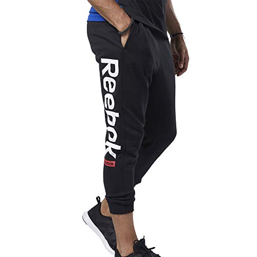 Reebok Te Big Logo Jogger Pantalón, Hombre, Negro, M