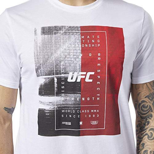 Reebok UFC FG Text tee Camiseta de Manga Corta, Hombre, Blanco (White), 2XL