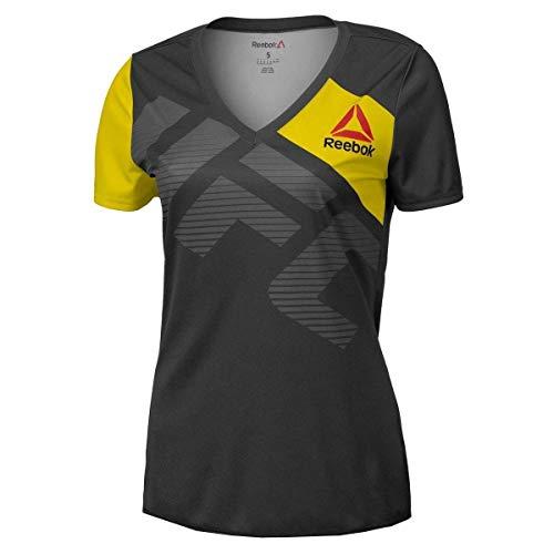 Reebok UFC Fight Kit - Camiseta para mujer, color negro y amarillo, Mujer, color Negro (, tamaño XXS
