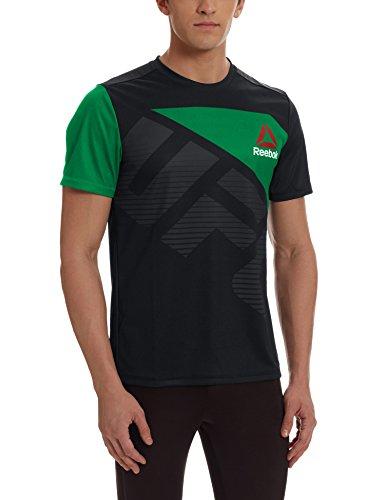Reebok UFC FK Blank Jersey Black Camiseta térmica, Hombre, Negro (Negro/Basgrn), XS