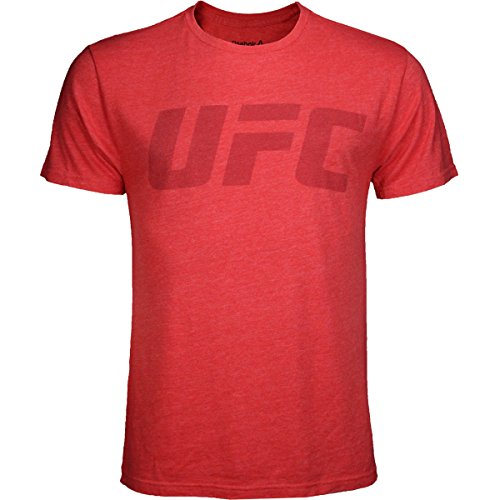 Reebok UFC Logo Triblend Camiseta (Oficial Lucha Semana Tema), Rojo (Red Heather)