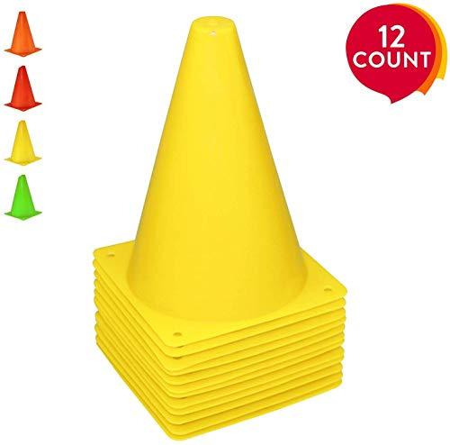 REEHUT 7.5 Pulgadas de Cono de tráfico plástico para Entrenamiento (Juego de 12) - Amarillo