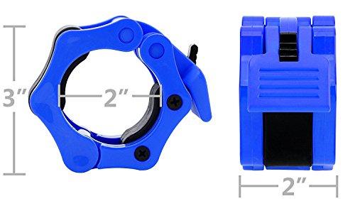 REEHUT Bloqueadores para Barras de Pesas Levantamiento de Pesa Barbell Barra de liberación rápida Barra olímpica Peso Cuello - para Crossfit, con Bloqueo, de liberación rápida (Azul, 1 par) 50mm