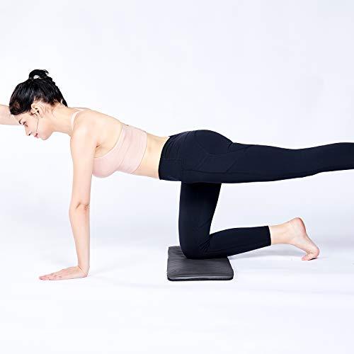 REEHUT Colchonetas de Pilates, Almohadilla de Yoga para Rodillas o Codos - Cojín de con Grosor de 15 mm - Evita el Dolor Durante Fitness(Negro)