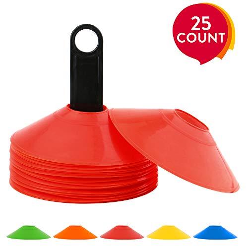 REEHUT Cono de fútbol Disco de Agilidad Conjunto de 25 con Soporte de Plástico, fútbol Americano, fútbol y Cualquier Juego de Pelota para marcar - Conos de de Disco para Entrenamiento, Rojo