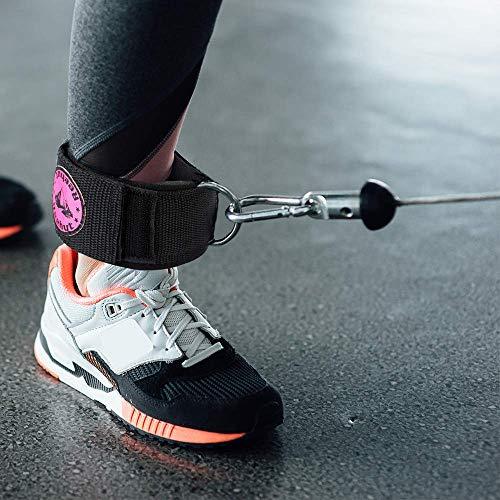 REEHUT Correa de Tobillo Acolchada con Hebilla de Nylon Ajustable Tobillera Deportiva para Máquina de Cable con Hebilla Metal D-Anillos para Ejercicios de Estiramiento Fitness Pilates 1 pc