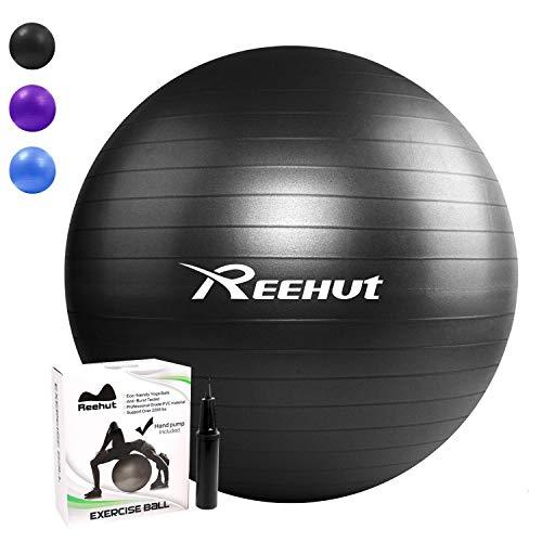 REEHUT Pelota de Ejercicio Anti-Burst para Yoga, Equilibrio, Fitness, Entrenamiento, incluidos Bomba y Manual de Usuario - Negro 75cm