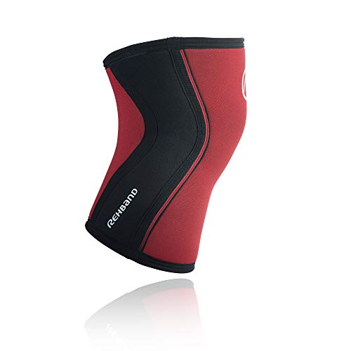 Rehband Kniebandage Neopren 5 mm - Rodillera de voleibol, Rojo, M
