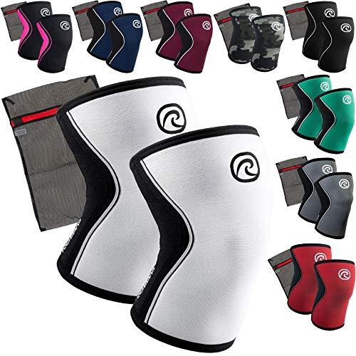 Rehband Rodillera de neopreno de 5 mm - pieza o par - incluyendo red de lavandería, Color:camo, Tamaño:L - 1 par