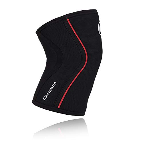 Rehband RX Knee Support Rodillera de Neopreno, Unisex, 7 mm,  Negro/Rojo, Medium