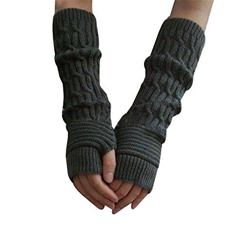 Reine à la mode - Mitones largos de brazo, tejido, cálidos gris oscuro