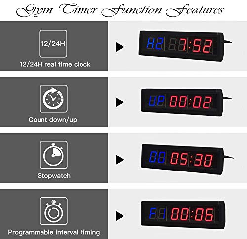Reloj de pared cronómetro con temporizador de intervalos de Ledgital crossfit con mando a distancia por infrarrojos (35,6 x 10,2 x 3,8 cm), enchufe estándar del Reino Unido