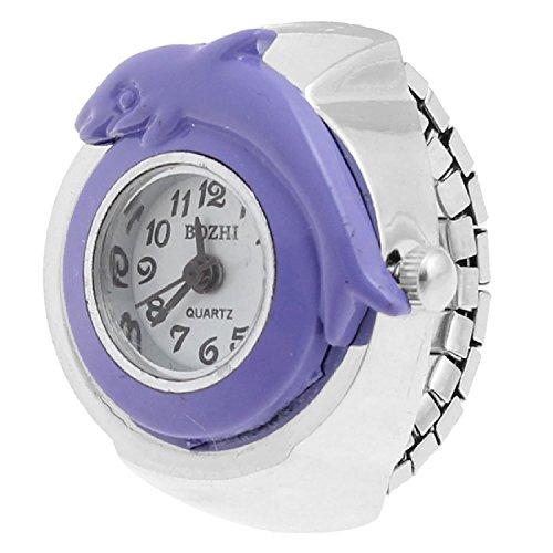 Reloj dedo vivienda Forma Púrpura Delfín anillo de la venda elástica para mujer