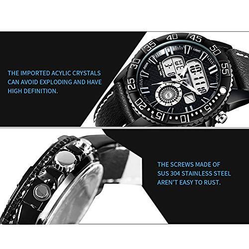 Reloj electrónico Deportivo Juvenil, Reloj Deportivo de Negocios con cinturón Impermeable para Hombres, Puntero + Pantalla Digital, Luminoso, con Calendario mensual y Semana B