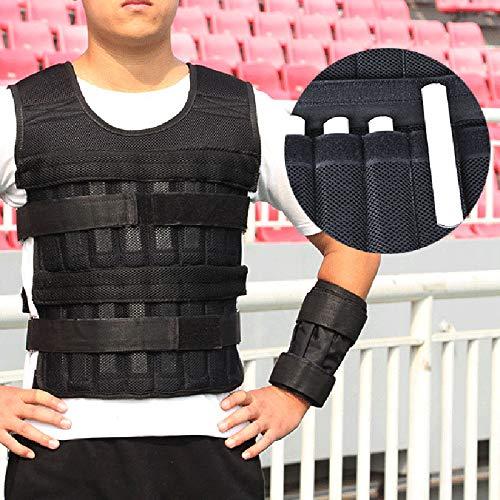 Reuvv - Chaleco lastrado de 20 kg ajustable, chaleco de para ejercicios de levantar peso, entrenamiento de boxeo, gimnasio, entrenamiento corporal, pérdida de peso y fitness