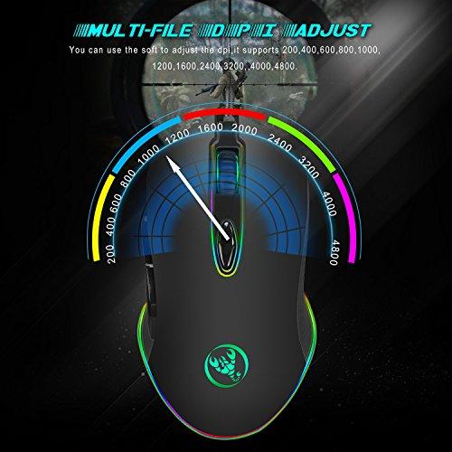 RGB Ratón para Gamer, LED Retroiluminado,USB Cable Trenzado, 200 a 4800 dpi Ajustables,7 Botones Programables (USB Black)