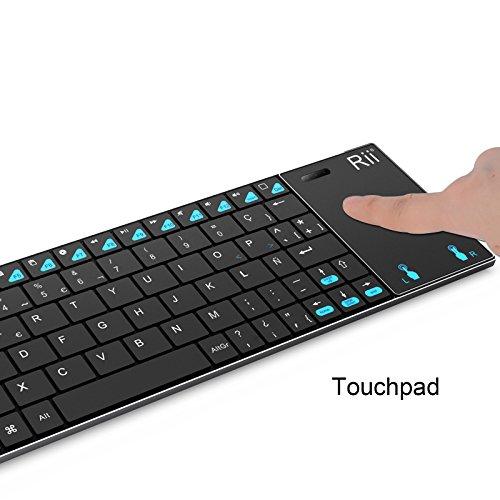 Rii K12+ Mini Teclado compacto con touchpad multitoque integrado (WiFi 2.4 GHz, USB incorporado, cubierta de Acero Inoxidable ultra-resistente) Color Negro - QWERTY Español