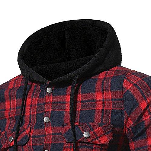 riou Botón Camisa de Manga Larga con Capucha y Cuadros de Otoño Invierno Casual Chaqueta Ropa Tops