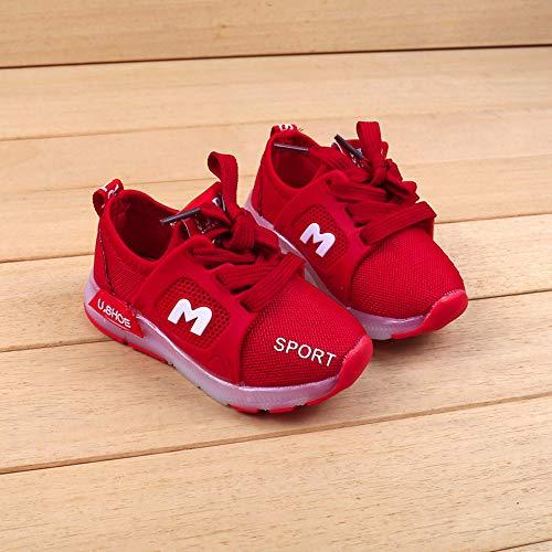 Riou Zapatos LED Niños Niñas 7 Color Zapatillas Deportivas Unisex Zapatillas de Correr Transpirables Antideslizante Zapatillas Ligeras Chicos Chicas Zapatos Calzado