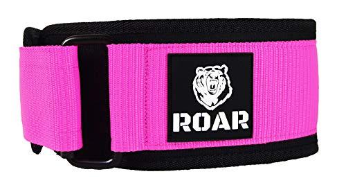 Roar® Cinturón Lumbar Gimnasio, Cinturon Gimnasio Hombre y Mujer, Cinturon Halterofilia, Powerlifting, Crossfit, Levantamiento Peso, Musculacion, Cinturon Gym Hombre, Cinturon Pesas (Rosa, S)