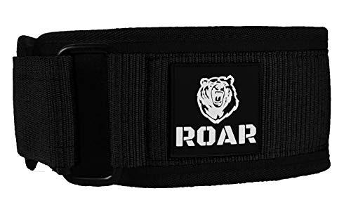 Roar® Cinturón Lumbar Gimnasio, Cinturon Gimnasio Hombre y Mujer, Cinturon Halterofilia, Powerlifting, Crossfit, Levantamiento Peso, Musculacion, Cinturon Gym Hombre, Cinturon Pesas (Negro, L)