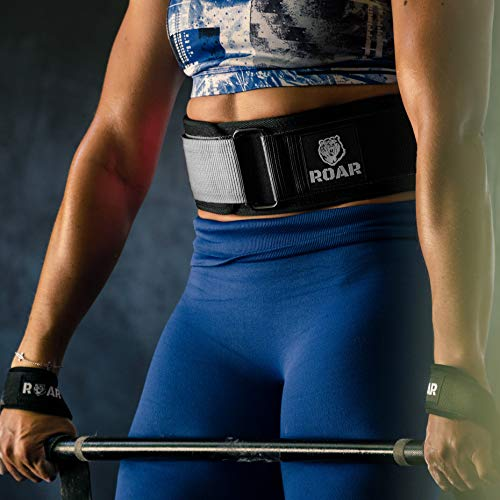 Roar® Cinturón Lumbar Gimnasio, Cinturon Gimnasio Hombre y Mujer, Cinturon Halterofilia, Powerlifting, Crossfit, Levantamiento Peso, Musculacion, Cinturon Gym Hombre, Cinturon Pesas (Negro, XS)