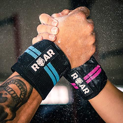 Roar® Muñequeras Deportivas, Muñequeras Crossfit Hombre y Mujer, Muñequeras Gym Hombre, Wrist Wraps, Muñequera Crossfit, Muñequeras Gimnasio, Calistenia, Musculacion, Halterofilia (Rojo)