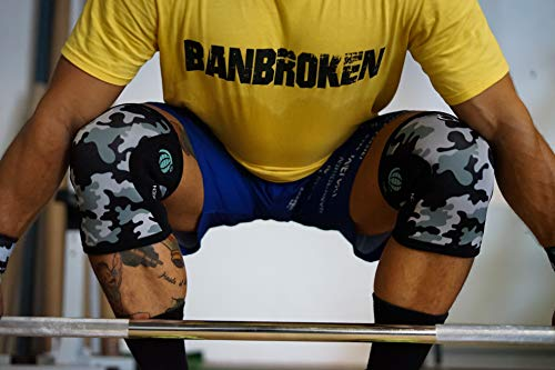 Rodilleras CAMO 2.0 BB BANBROKEN (2 unds) - 5mm Knee Sleeves - Halterofilia, Deporte Funcional, Crossfit, Levantamiento de Pesas, Running y Otros Deportes. 1 PAR - Unisex. (S)