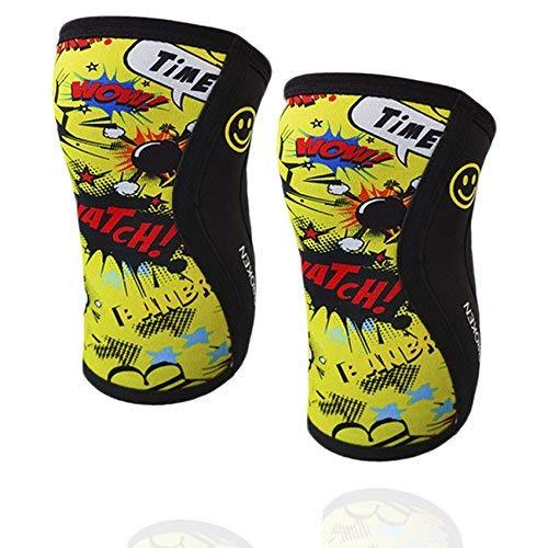 Rodilleras YELLOW FUN (2 unds) - 5mm Knee Sleeves - Halterofilia, deporte funcional, CrossFit, Levantamiento de Pesas, Running y otros deportes. UNISEX AMARILLO 1 PAR (M)
