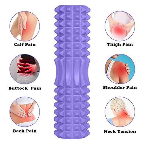 Rodillo de Yoga,Foam Roller,Rodillos de Espuma para Ejercicios musculares Foam Roller Kit con Rejilla de Liberación Miofascial, 3-en-1 Kit de Rodillo Masaje Muscular con Rodillos de Espuma (Púrpura)