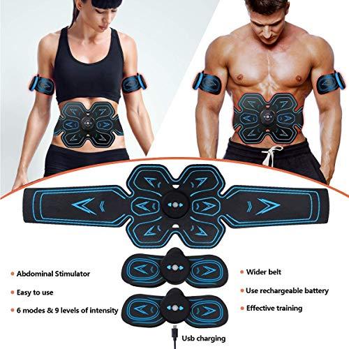 ROOTOK Electroestimulador Muscular Abdominales,Masajeador Eléctrico Cinturón con USB, Estimulación Muscular Masajeador Eléctrico Cinturón Abdomen/Brazo/Piernas/Glúteos