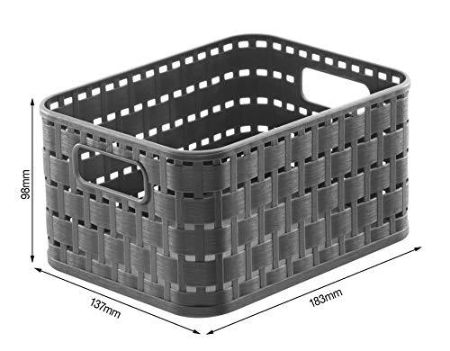 Rotho Country - Caja de almacenaje con efecto de mimbre, Negro, A6