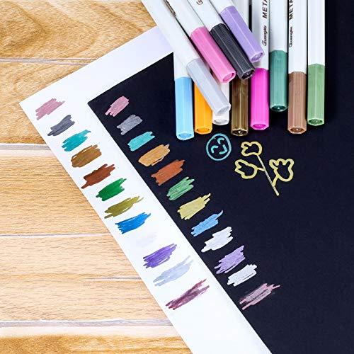 Rotuladores Metalizados, Rymall Rotuladores de Colores Marker Pen 12 Qaquetes para Album de Recortes de Fotos de Uso en Cualquier Superficie de Papel de Vidrio Cerámica de Plástico