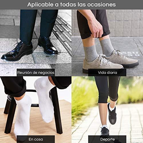 Rovtop 12 Pares de Calcetines para Hombre y Mujer - Calcetines Deportivos Corto Malla Transpirable (Blanco/Negro/Gris) (12 Calcetines Medio)