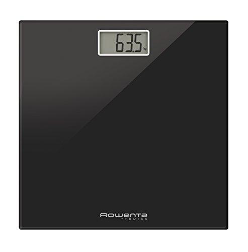 Rowenta BS1060 Premiss - Báscula Digital con Pantalla LCD, Compacta, Capacidad de 150 kg, Plataforma de Vidrio y Apagado Automático que Incluye Pilas, color Negro