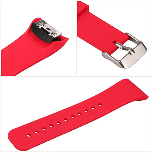 "Rukoy Correas para Samsung Gear Fit 2 Band/Gear Fit 2 Pro [Paquete de 2: Negro + Rojo], Replacement Bands Accesorios para Samsung Gear Fit2 Pro SM-R365/Gear Fit2 SM-R360 Smartwatch (5.9""-7.5"")"